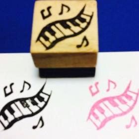 ♪ 楽器はんこ【鍵盤&音符】3cm四方