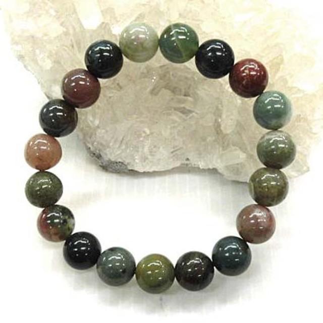 天然石 インディアアゲート10mm玉ブレスレット 内周:約18.5cm 16072023
