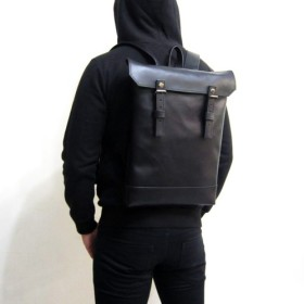 BLACK×BLACK-ハンドメイドフェイクレザークラムシェルバック/ペンパック