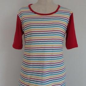 4色スリムストライプTシャツ/赤【華美月】