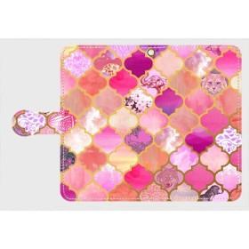 アラベスクタイルパターン(サクラピンク)Galaxy S、M(通常)サイズ 多機種対応 手帳型 *春色*