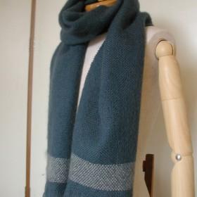 手織りマフラー 羊毛(ウール)100% スモークグリーン 平織り