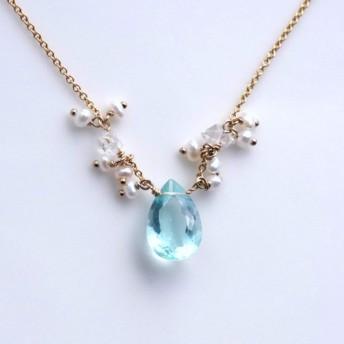 グリーンフローライトとハーキマーダイヤモンドのネックレス Armelle