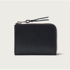 LINTZAN「レザーハンドステッチ」L字型ジッパーショートクリップ/小銭入れ/財布 - ストーンブラック