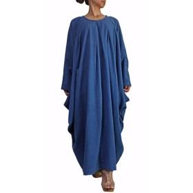 ジョムトン手織り綿のマルチドレープゆったりドレス インディゴ(DFS-046-03)