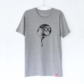 サルくんのヘルメットのTシャツ gray x black