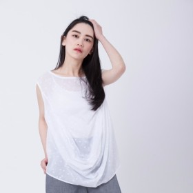 Heidi drop 水玉 sleeveless top / White