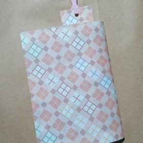 栞付き・和紙ブックカバー(文庫本サイズ)チェック・ピンク