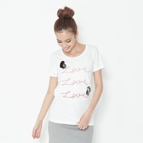 愛情の鳥・ピーチ起毛ソフトコットン・半袖・レディースTシャツ、ホワイト