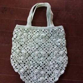 モチーフ編み手提げバッグ
