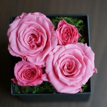 記念日に贈る花やインテリアに/プリザーブドフラワーボックス/エレガントなピンク/ローズのみのラグジュアリーボックス/