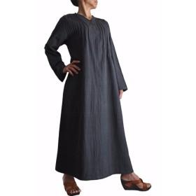 ジョムトン手織り綿の畝使いシンプルロングドレス 墨黒(DFS-041-01)