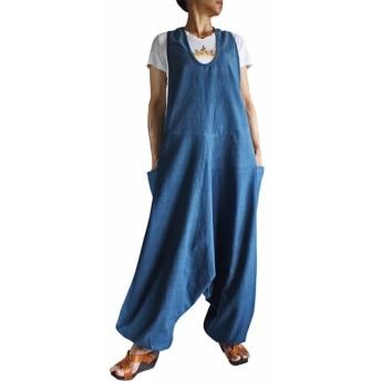 ジョムトン手織り綿アラジンサロペット インディゴ(DFS-036-03)