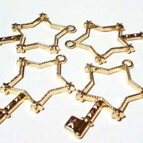星キーのレジン枠 ゴールド色 4個セット