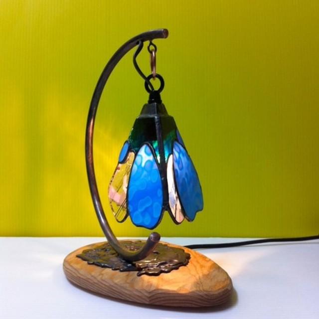 【受注後の製作】テーブルランプ・つぼみ・木製台Cライン (ブルー)