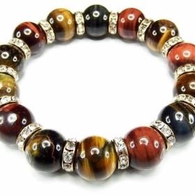 護符御守天然石AA多色タイガーアイ約14mmロンデル数珠ブレスレット