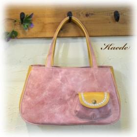 ぷっくりポケットのハンドバッグ / レザー ピンク
