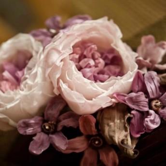 ハンドメイド造花髪飾り 朦朧・紫 宴会成人式卒業式パーティー
