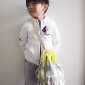 ひまわり手作りのミニマリスト北欧スタイルホッキョクグマパターンキャンバス巾着バケットバッグ(ハッチバック/背側)
