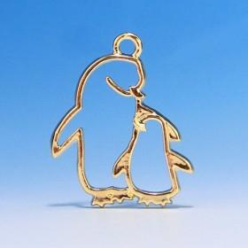 ペンギンの親子 レジン空枠(ゴールド) 2個セット