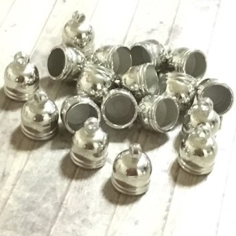 プラ製 10mm タッセル キャップ カバー シルバー 20個セット