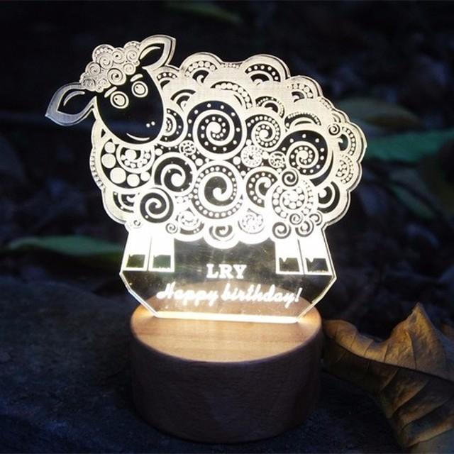 12干支羊デスクトップ次元彫刻木材は、小さなテーブルランプ「製造指図を」LED