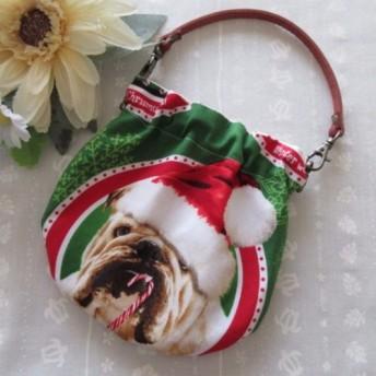 ●くわえタバコ風?●ブルドッグサンタ●持ち手付き●まんまるバネポーチ●グリーン系●クリスマス●USA●犬●