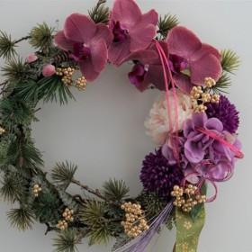 しめ縄飾り 新年のドア飾り 胡蝶蘭