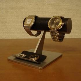 機能的2本掛けブラック腕時計スタンド