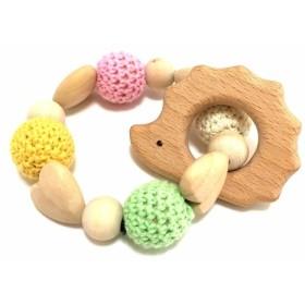 赤ちゃんも大喜びの贈り物 木製 おしゃぶり 歯がため はりねずみの輪っか