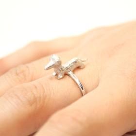 Dachshund ring (rhodium plating)