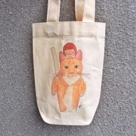 小さな太った猫バッグ/キャンバスバッグ/ドットキャンバスバッグのカップを飲みます