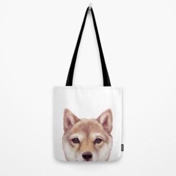 柴犬オリジナルイラスト、両面ぷりんとトートバッグ