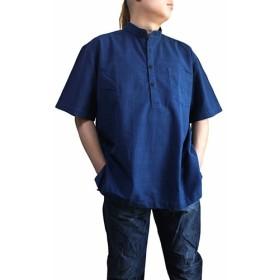 ジョムトン手織り綿スタンドカラー半袖プルオーバー インディゴ(BFS-155-03)