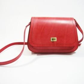●革オルガンバッグ(赤い野菜なめし革)(サイドバックパック、ショルダーバッグ)zuo zuo手作りの革製品として__made