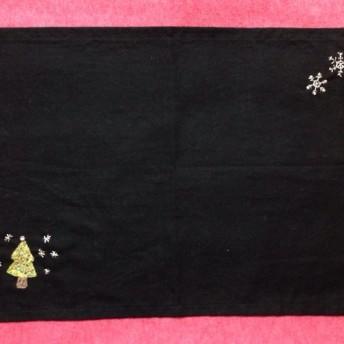 ビーズ刺繍のランチョンマット☆ホワイトクリスマス