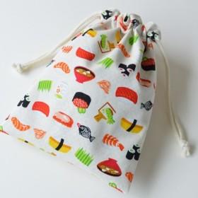 ポンっと入れてバッグの中をすっきりお片付けシンプルが使いやすい・巾着袋 お寿司 鮨 白【 Simple 】