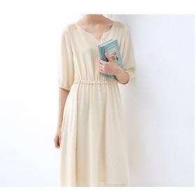 刺繍、タック付きシンプルな五分袖ワンピース♪