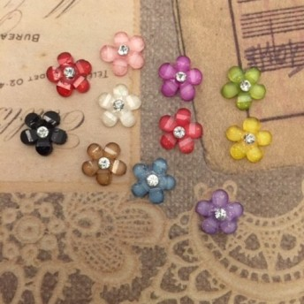お花のカボション(11色セット)