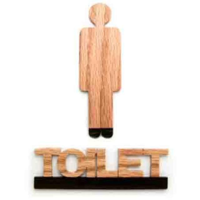 TOILET黒+男性ピクト トイレドアプレート RN1+P1 ウッドサイン「新・森の生活」