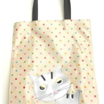 猫 グッズ 雑貨 柄 トラ猫 トートバッグ a4 サブバッグ ビニール 防水 ふきげん猫