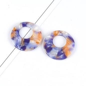 「4個セット 夢幻のシャボン玉」べっ甲風パーツ リング27.5mm