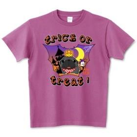 生地色・サイズ選べる!ハロウィン パグ1(黒パグ)Tシャツ