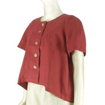 ポーリッシュリネン ショート丈ブラウス ラグラン袖 半袖 赤 レッド 無地 フリーサイズ