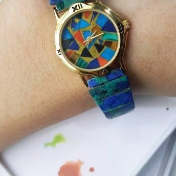 芸術な 天然石 さざれ 伸縮式 のバンド 腕時計