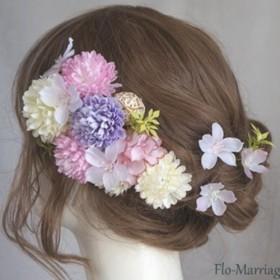 桜色の花びら ピンポンマムの髪飾り 結婚式、成人式、卒業式に!