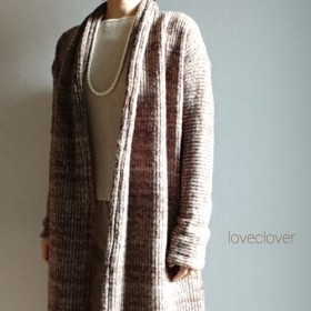 Creema数量限定Italiana mix brown longcardigan wool & mohair