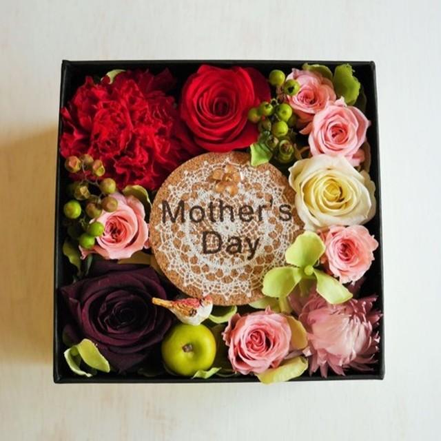 母の日アレンジ お花柄BOXアレンジ・ことりとプリザーブドフラワー