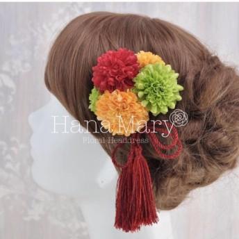 miniピンポンマムの髪飾り