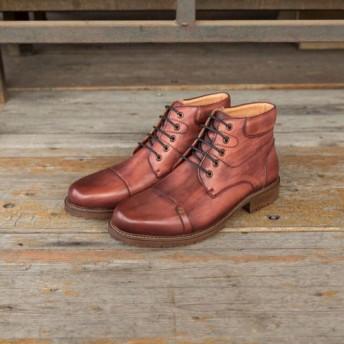 手作り子牛革深靴ストレートチップショットブーツ ワインレッド 送料無料